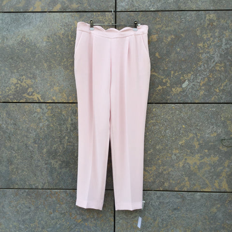Pastel Pink Polyester Modern Contemporary Designer Trousers  Size 32/33