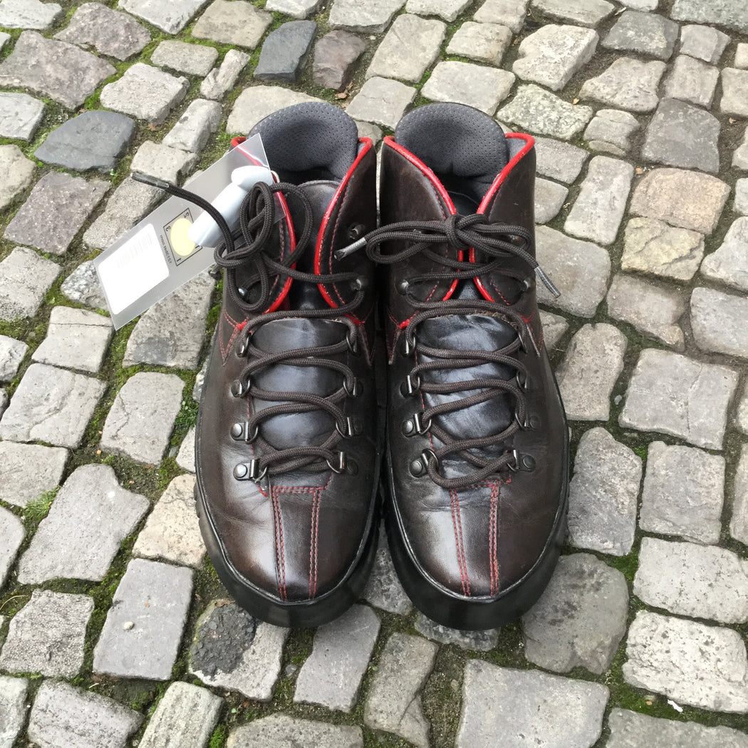 Burgundy Leather Prada Shoes Sneaker Boots Stitching Detail Size 37