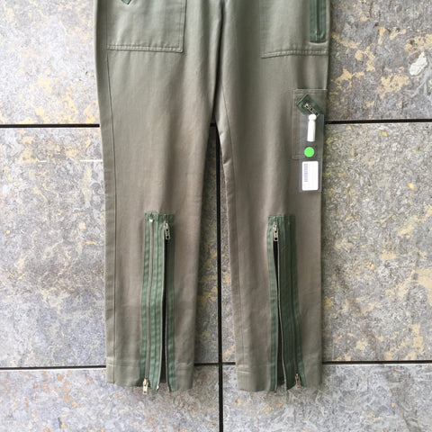Army Cotton Chloé Trousers Zippered Multi Pocket Size 28/29