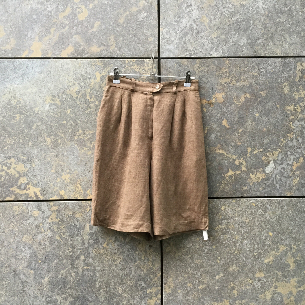 Beige Brown Linen Mix Max Mara High Waist Shorts Pleated Size 28/29