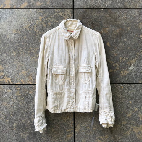 Straw Linen Prada Shirt Button Through Size XS/S