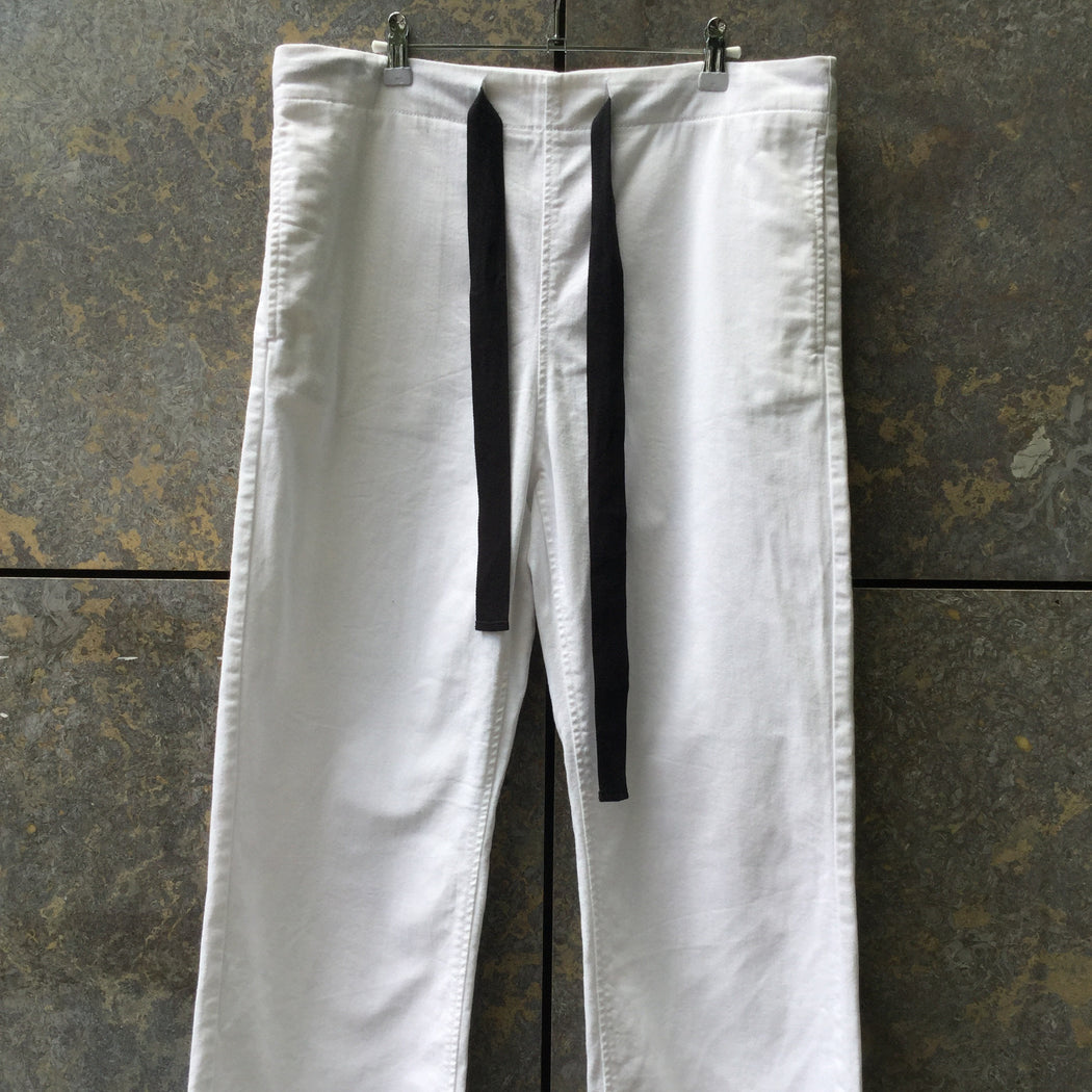 White-Black Denim Mm6 Maison Margiela Straight Fit Jeans Draw String Wide Leg Size 30/31