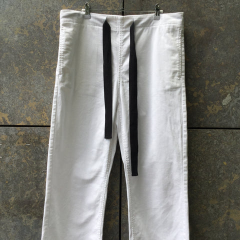 White-Black Denim Mm6 Maison Margiela Straight Fit Jeans Draw String Wide Leg