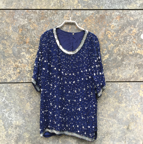 Midnight Blue-Silver Polyester Mix Vintage Top short sleeve Sequened
