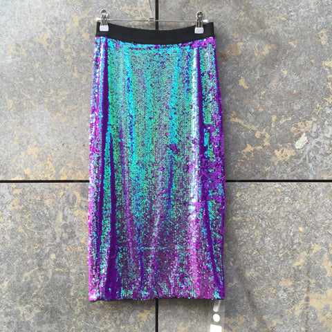 Metallic Iridescent Polyester Mix Essentiel Antwerp Skirt Sequened Size 26/27