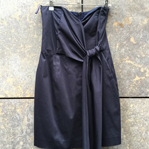 Midnight Blue Cotton French Connection Cocktail Dress Flap Tie Size M/L