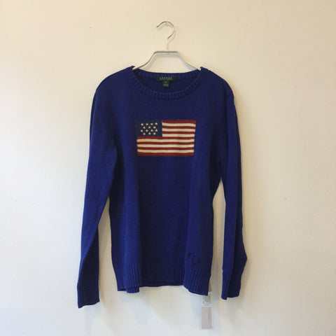 Midnight Blue-Tricolor Cotton Lauren Ralph Lauren Sweater Boxy