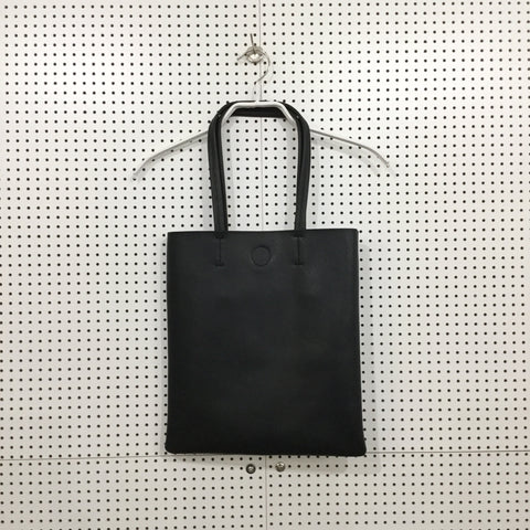 Black Leather Contemporary Main Leather Tote