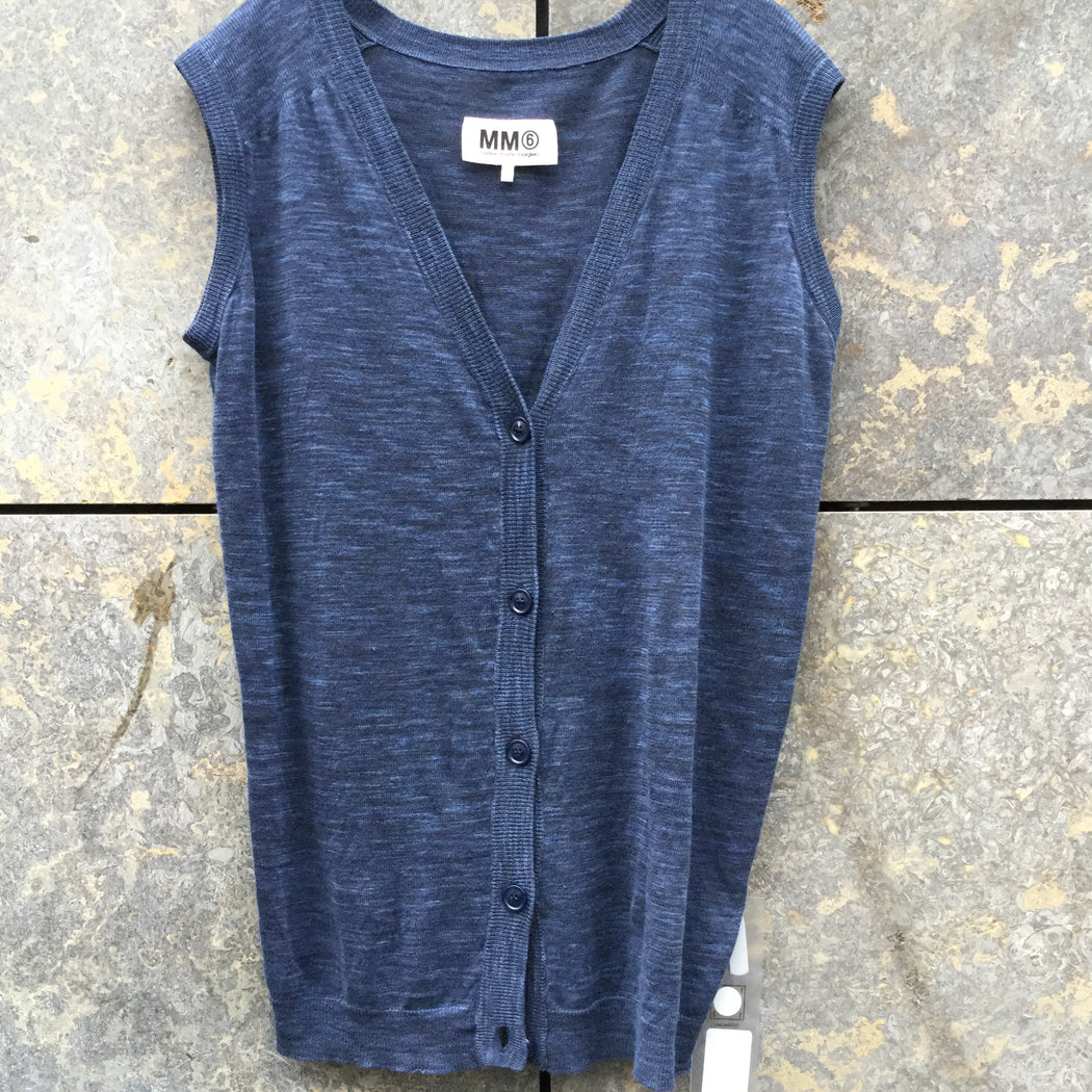 Heather Blue Linen Mm6 Maison Margiela Light Vest