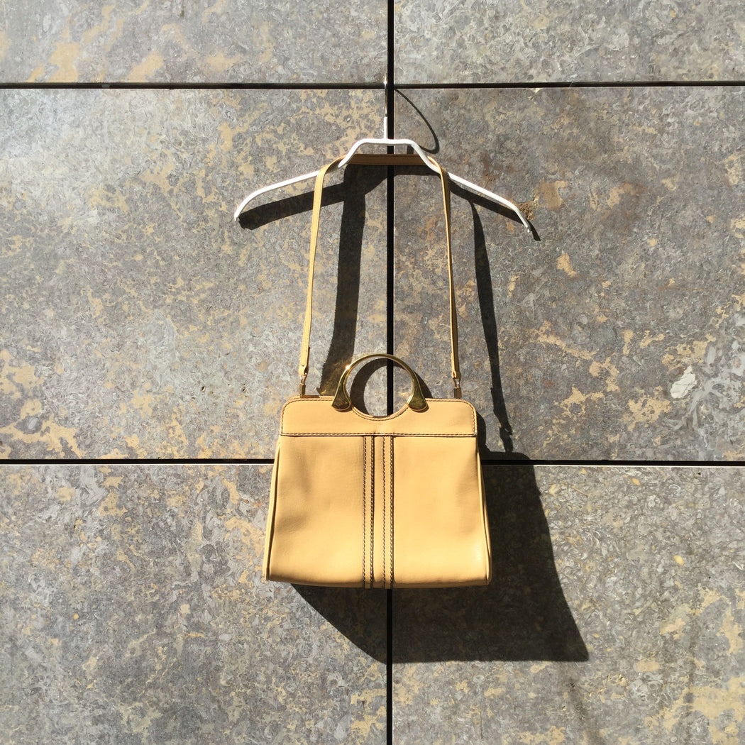 Beige-Gold Leather Contemporary Hand Bag