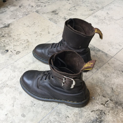 Black Leather Dr. Martens Combat Boots Buckled Size 41