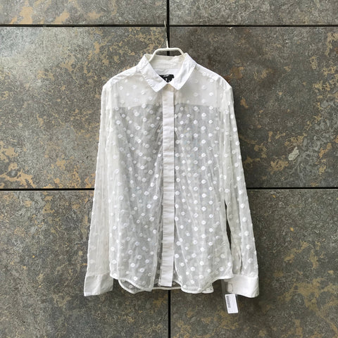 White Nylon / Cotton Contemporary Main Shirt Embroidered Size M/L