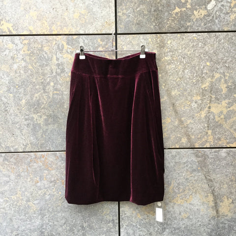 Wine Velvet Independent Midi Skirt Pleated Size 29/30