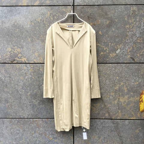 Straw Cotton Jil Sander Midi Dress Collar Detail Size L/XL