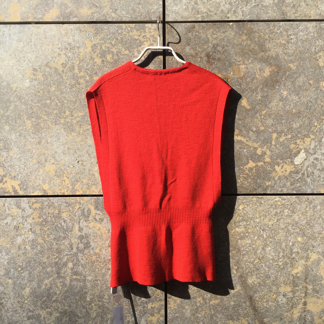 Red Cotton Veronique Branquinho Cardigan V-shape Size S/M