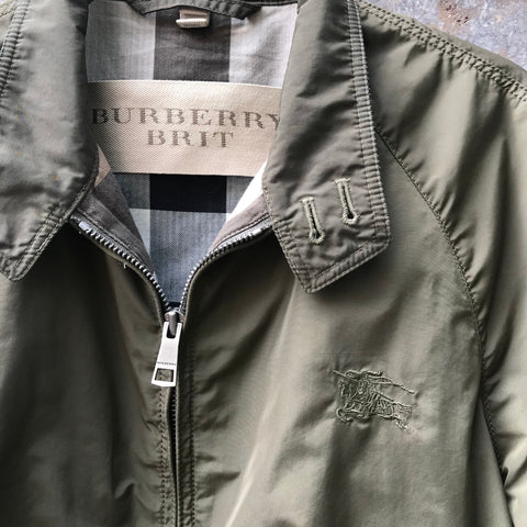 Army Polyester Modern Burberry Zip Jacket  Size M/L