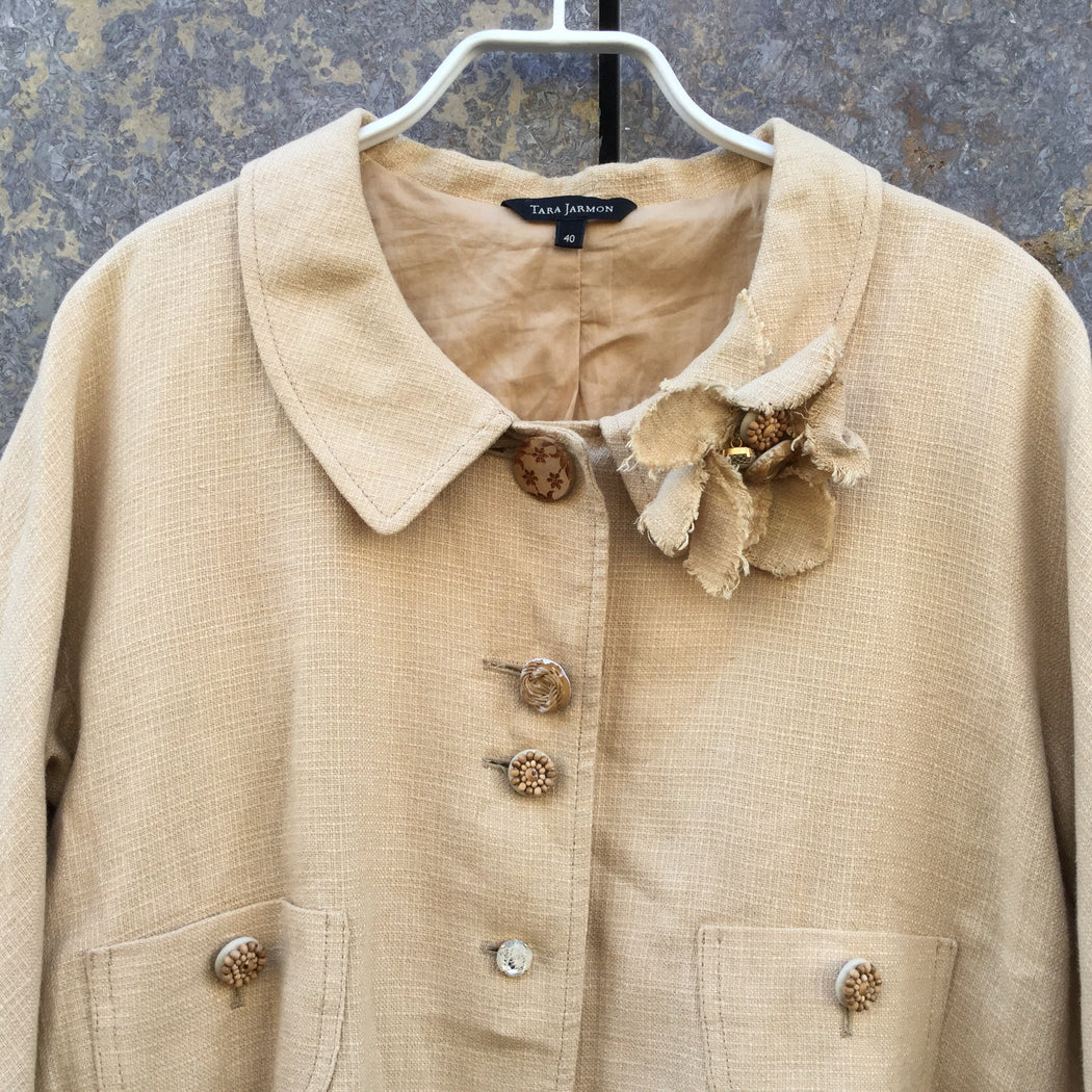 Beige Linen Tara Jarmon Light Jacket Special Button Size L/Xl