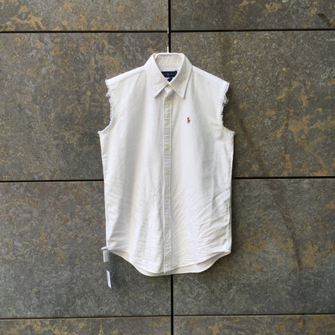 White Cotton Ralph Lauren Shirt short sleeve Button Through Sleeveless Size XS/S