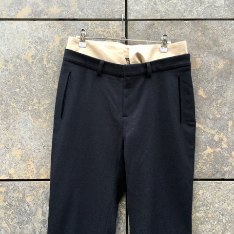 Navy-Beige Wool Mix Reality Studio 3/4 Pants Conceptual Detail Size 28/29