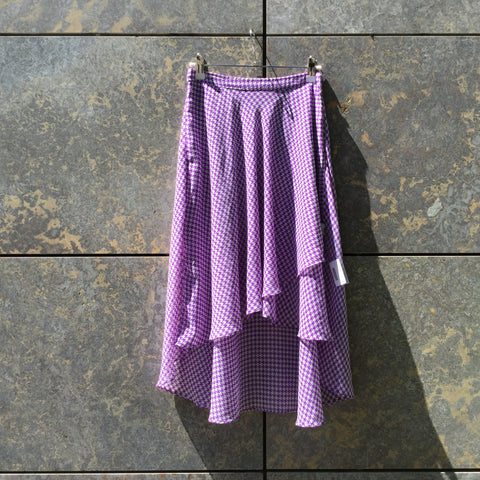 Purple-White Polyester Modern Contemporary Midi Skirt High Low Size 28/29
