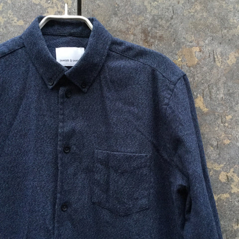 Midnight Blue-Black Cotton Samsoe And Samsoe Shirt  Size M/L