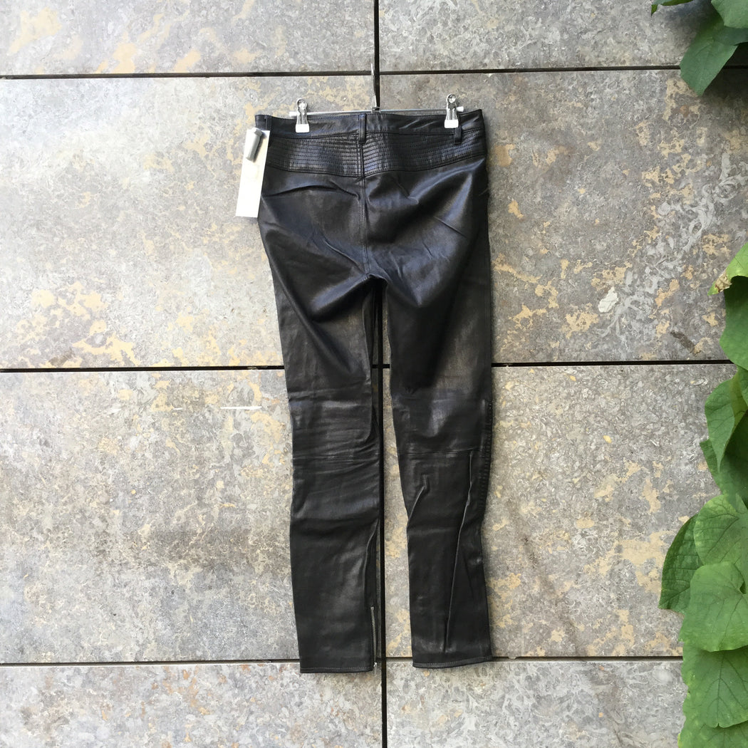 Black Leather Blk Dnm Slim Fit Jeans Ribbed Knee Size 28