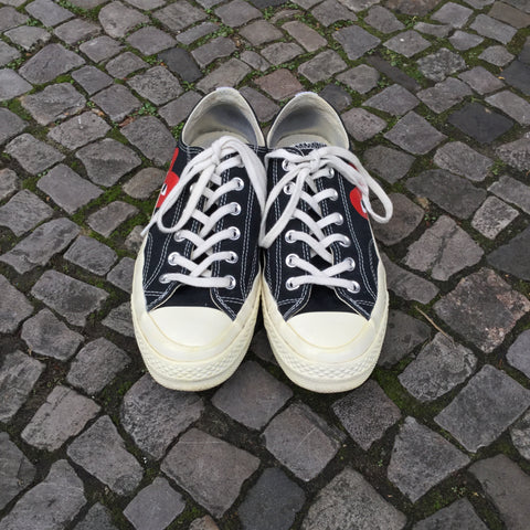 Black-White Canvas Converse X Play Comme Des Garcons Sneakers  Size 40