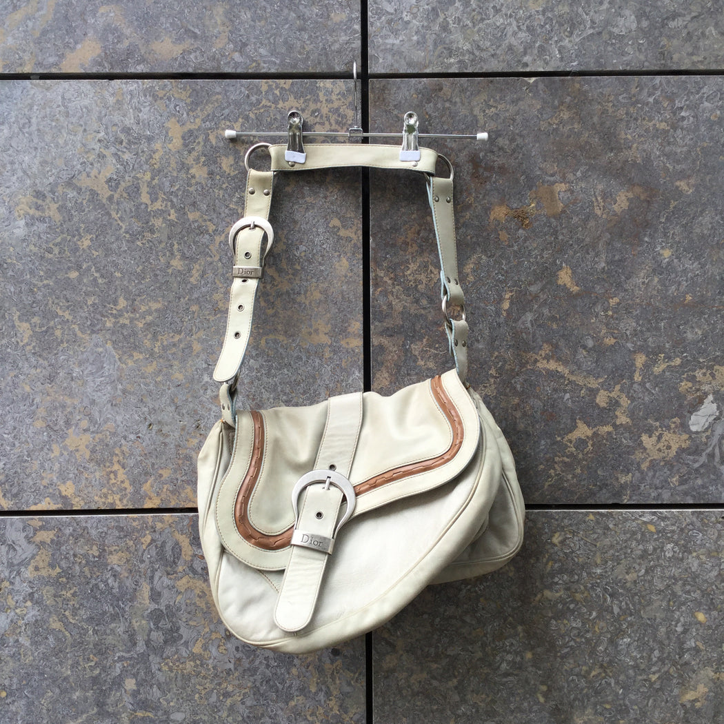 Straw-Tan Leather Christian Dior Shoulder Purse