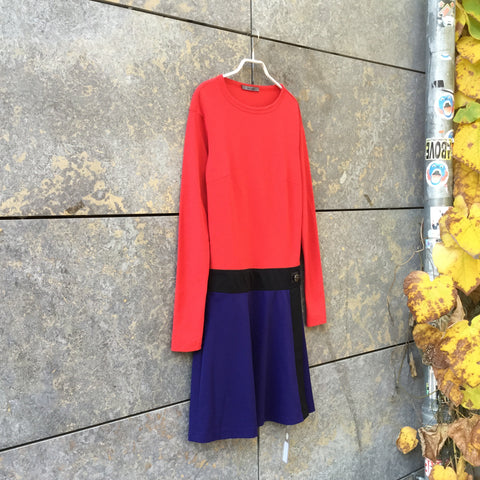 Red-Navy Polyester Modern Independent Midi Dress  Size M/L