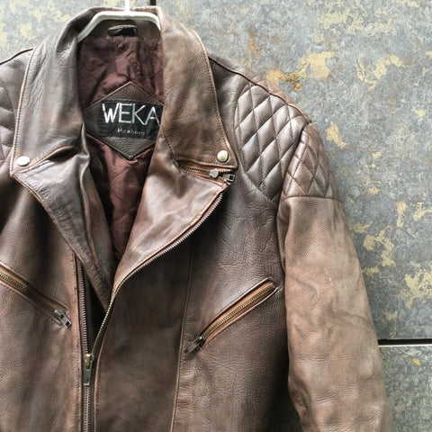 Brown Leather Contemporary Biker Jacket Zippered Size L