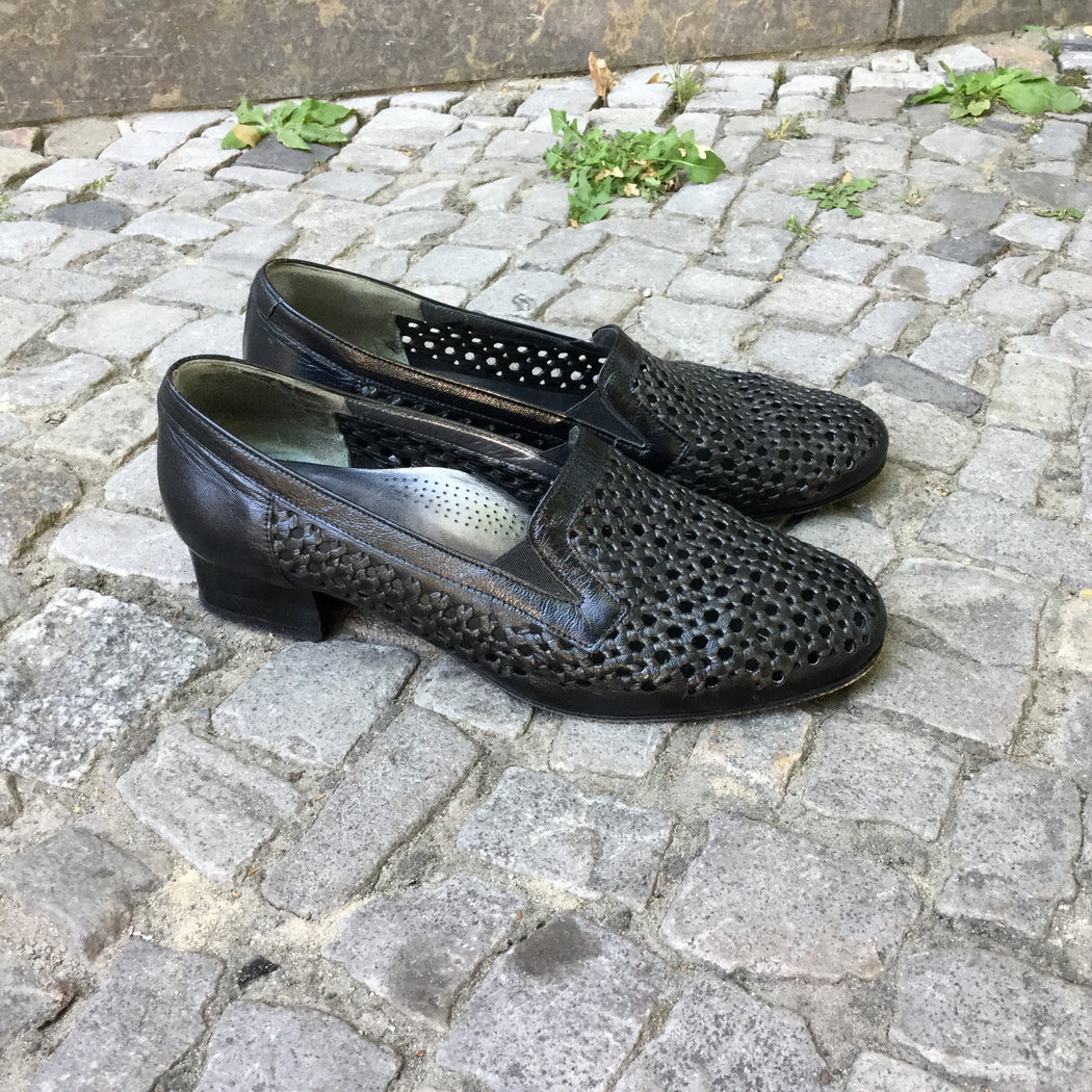 Black Leather Vintage Loafers  Size 7.5