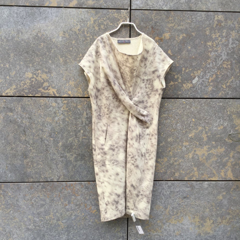 White-Grey Wool Mix Independent Cocoon Dress Conceptual Detail Size M/L