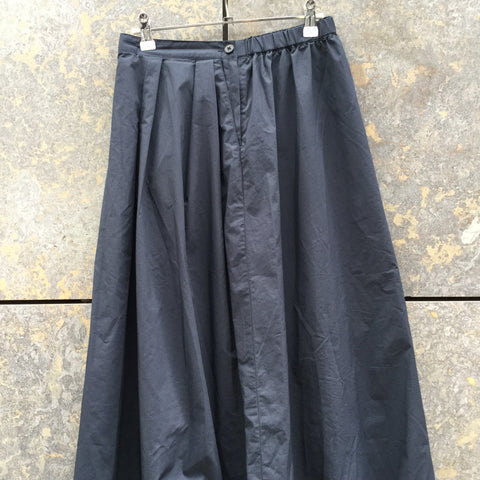 Midnight Blue Cotton Muji Midi Skirt Pleated Size 26/27