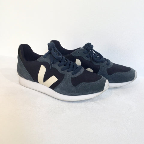 Navy-White Suede Veja Sneakers  Size 39