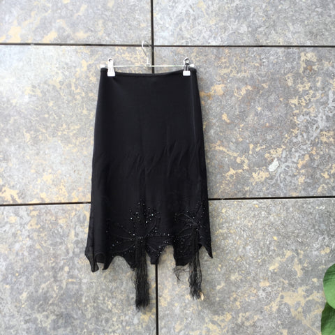 Black Rayon Mix Roberto Cavalli Knit Skirt Embroidered Size 26/27
