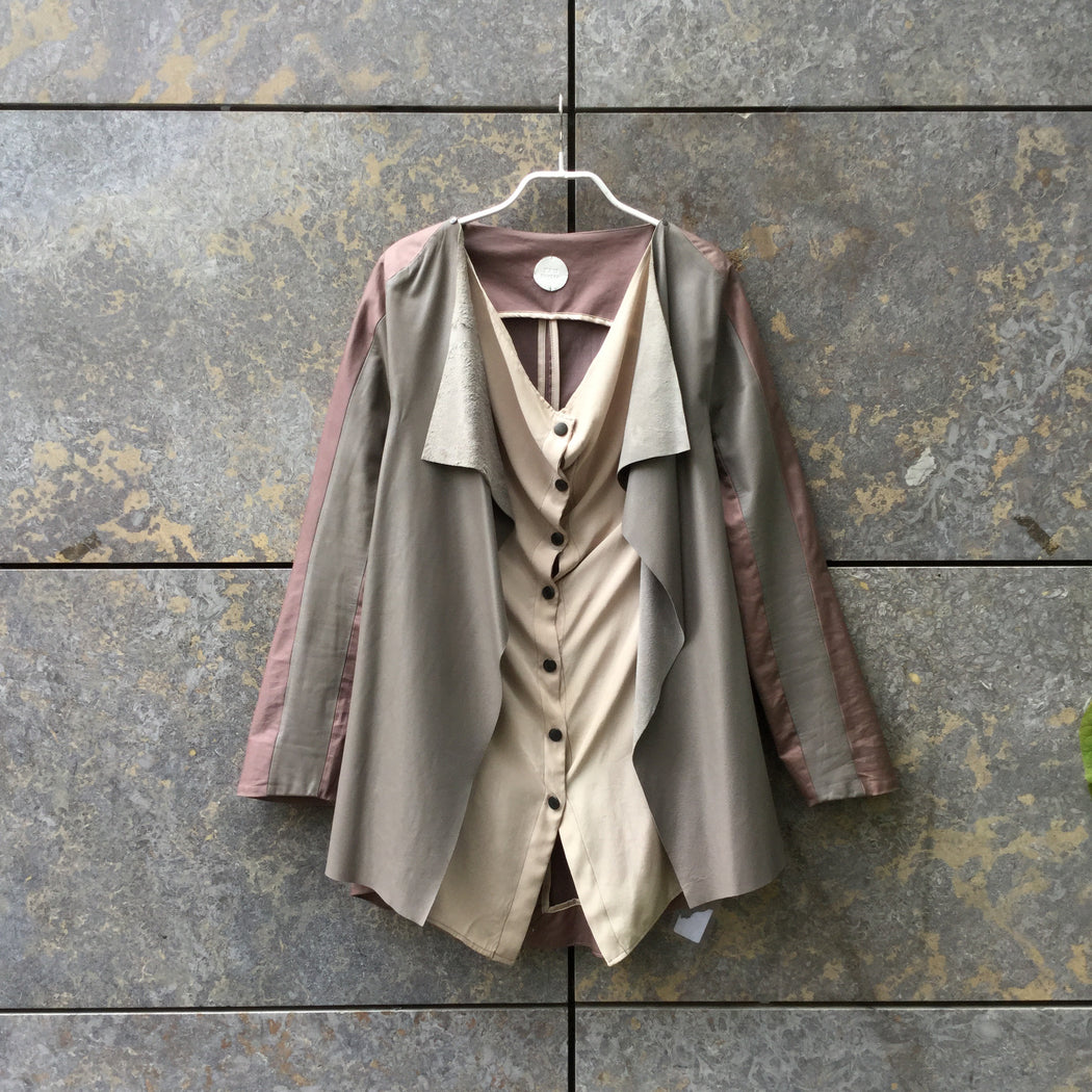Grey-Straw Leather/synthetic Mix Independent Blazer Button Through Conceptual Detail Size M/L