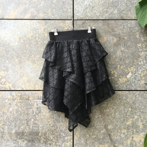 Black Synthetic Vintage Midi Skirt Ruffled Size 26/27