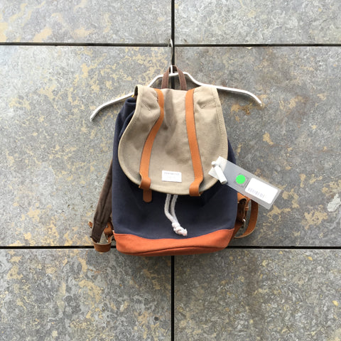 Navy-Tan Leather / Canvas Mix Sandquvist Backpack