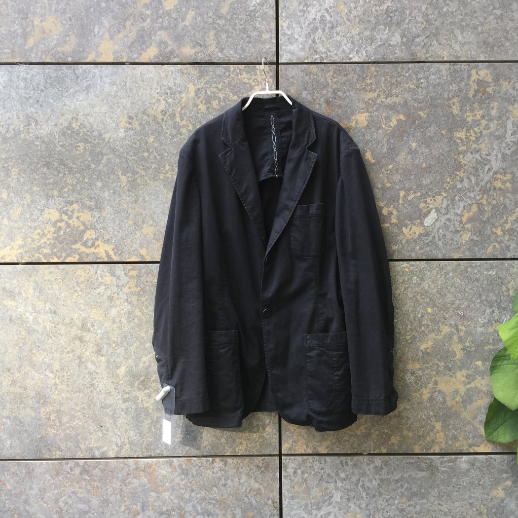 Black Cotton Mix Contemporary Blazer-Jacket  Size Xl