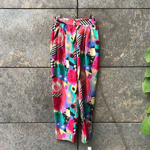 Colorful Silk Directional Vintage Straight Fit Pants Stretch Waist Size 29/30