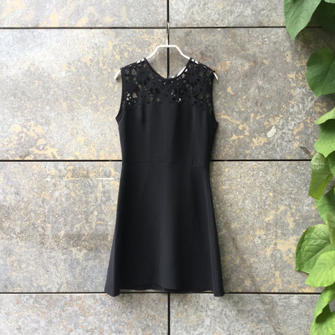 Black Polyester Modern Sandro Cocktail Dress Sleeveless Size S/M