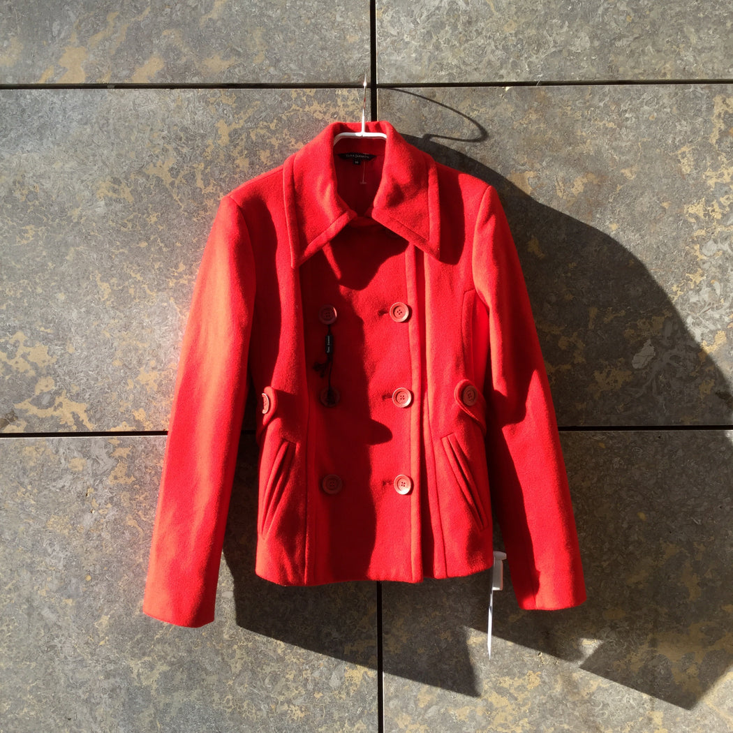 Red Wool Mix Tara Jarmon Coat Special Button Size S/M