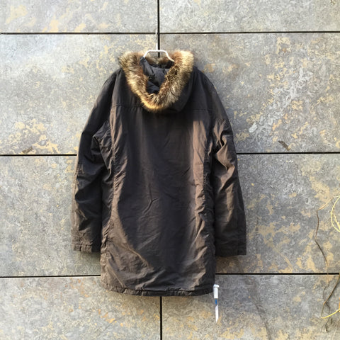 Dark Grey Cotton / Poly Mix Vintage Parka  Size M/L