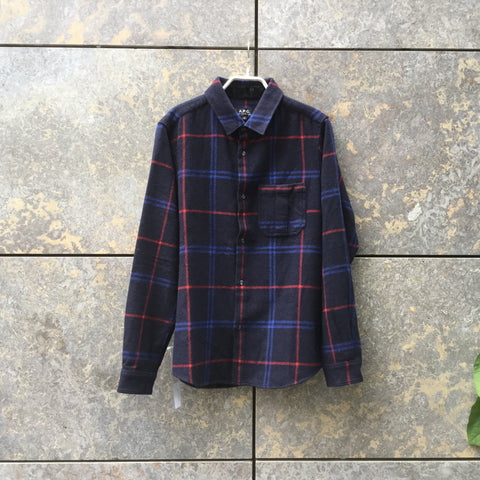 Blue-Red Wool Mix A.P.C. ( mens ) Flannel Shirt  Size S