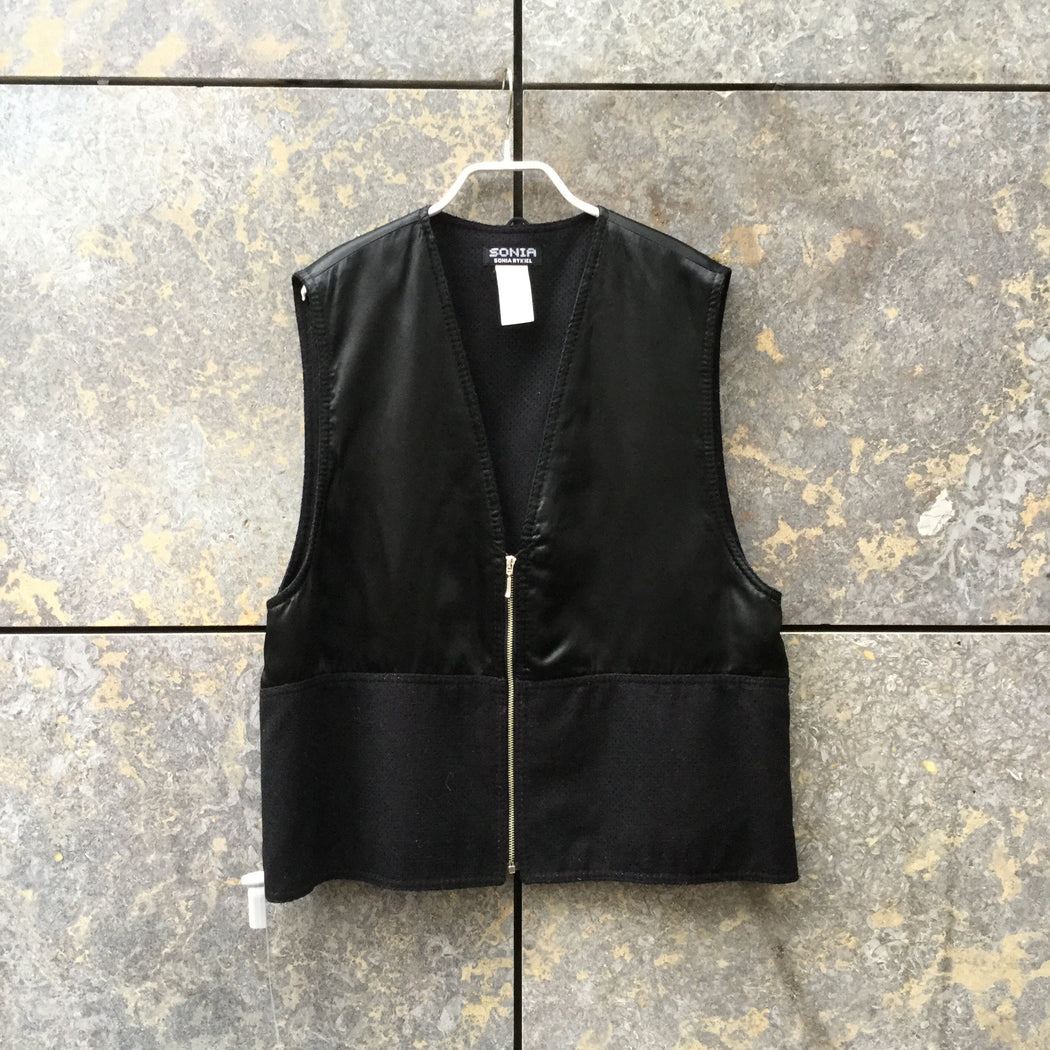 Black Wool / Polyamide Sonia By Sonia Rykiel Vest Zippered Mesh Size M/L