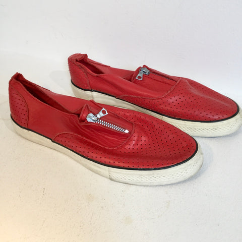 Red Leather Yohji Yamamoto Sneakers Zippered Mesh