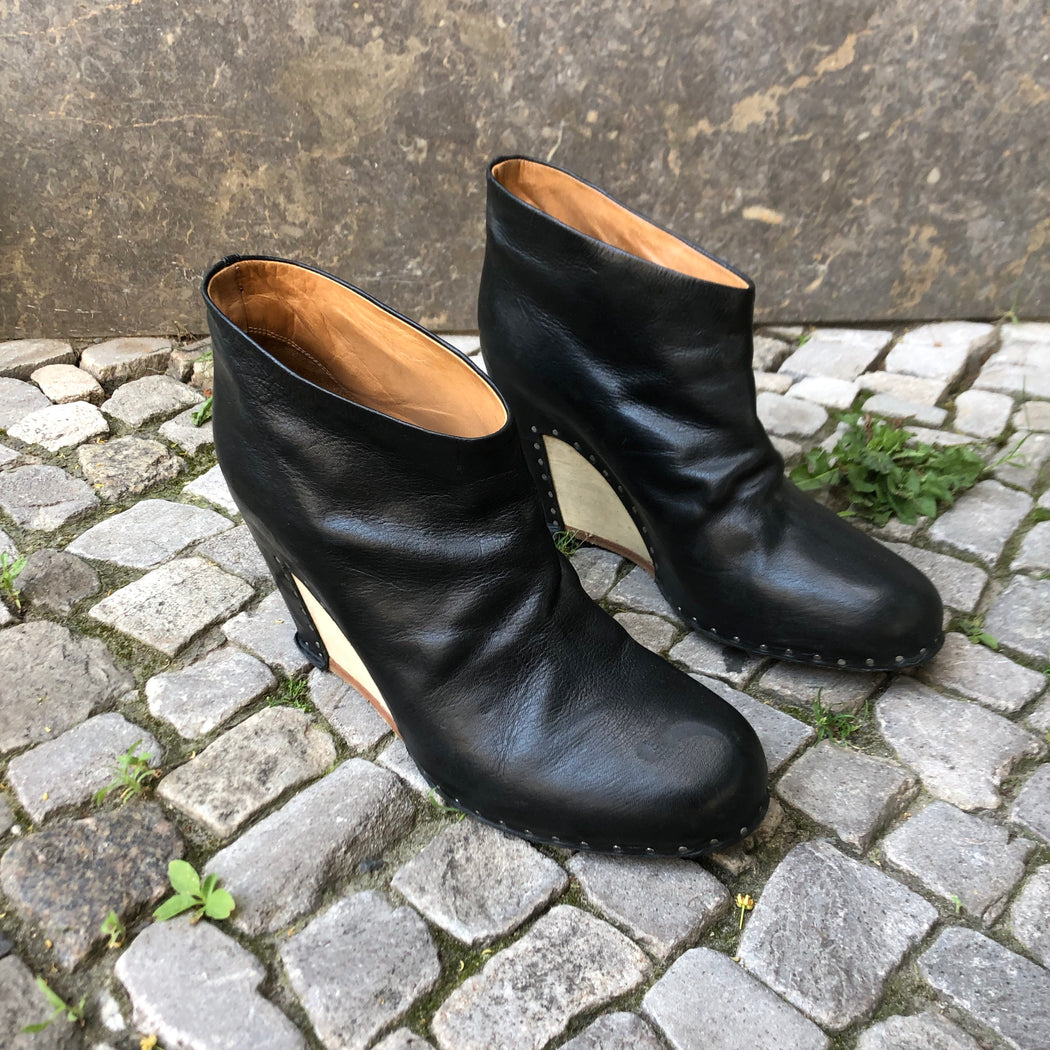 Black Leather Maison Martin Margiela Ankle Boot Heels Platform Size 40