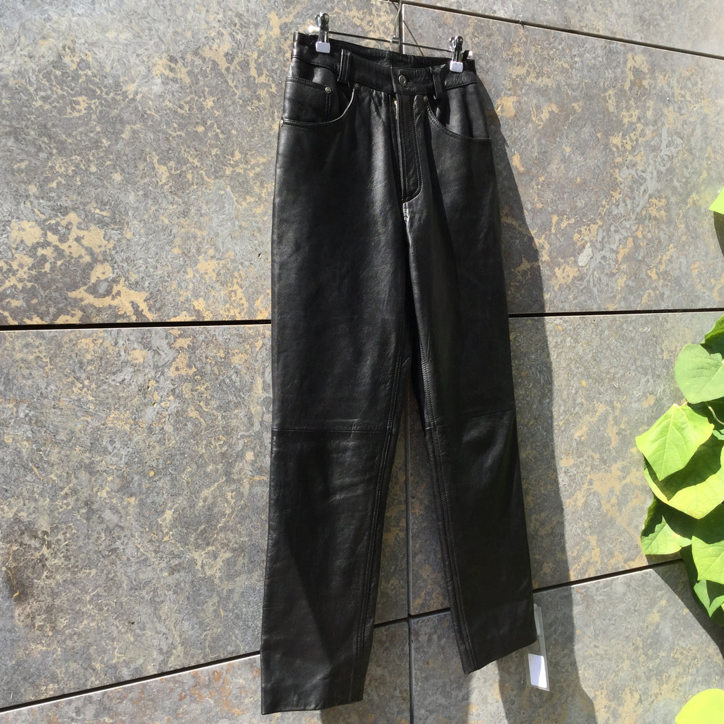 Black Leather Vintage High Waist Pants  Size 28/29