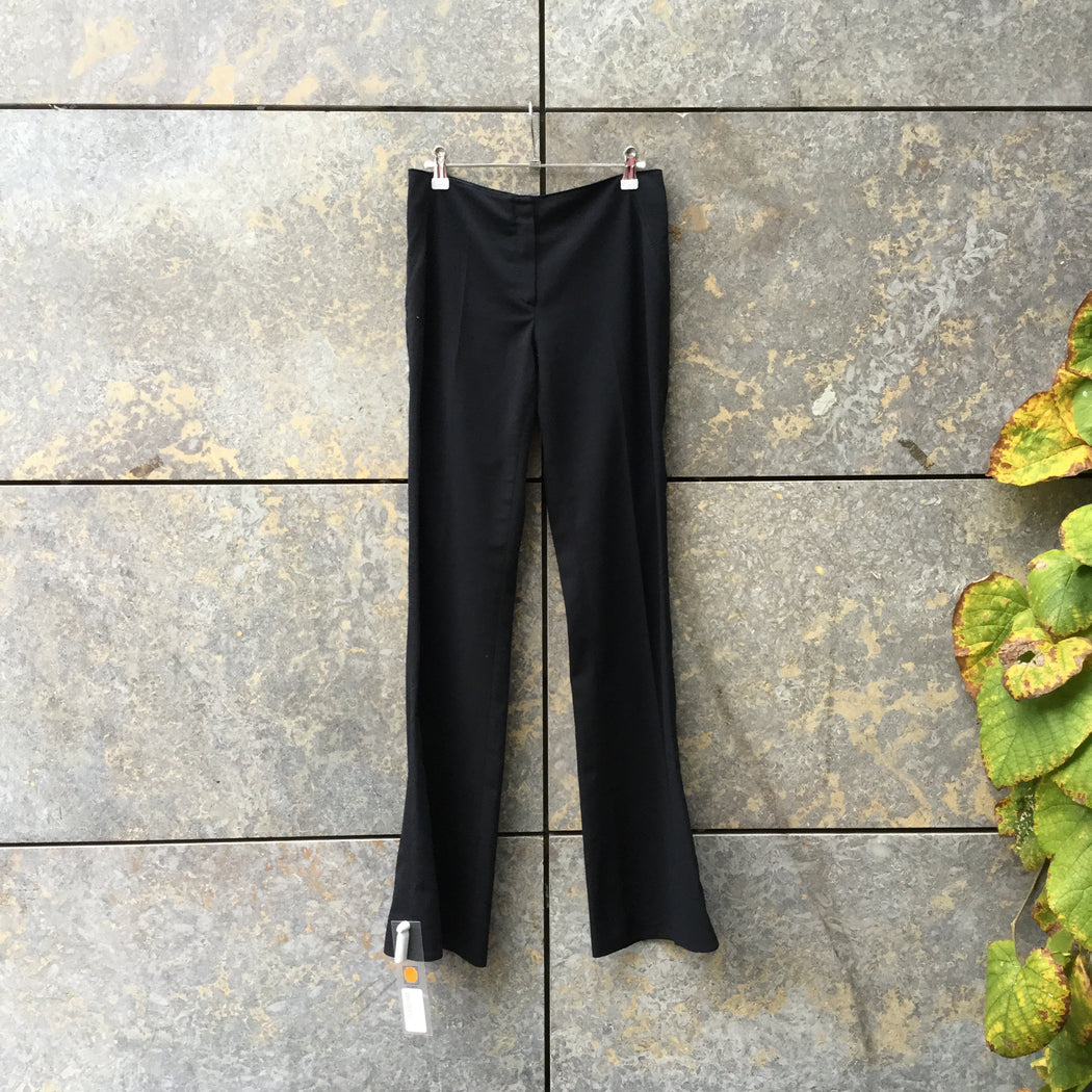 Black Polyester Mix Kookai Trousers Bell Bottom Size 28/29