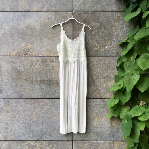 Straw Rayon Vintage Slip Dress Drapey Lace Detail Size S/M